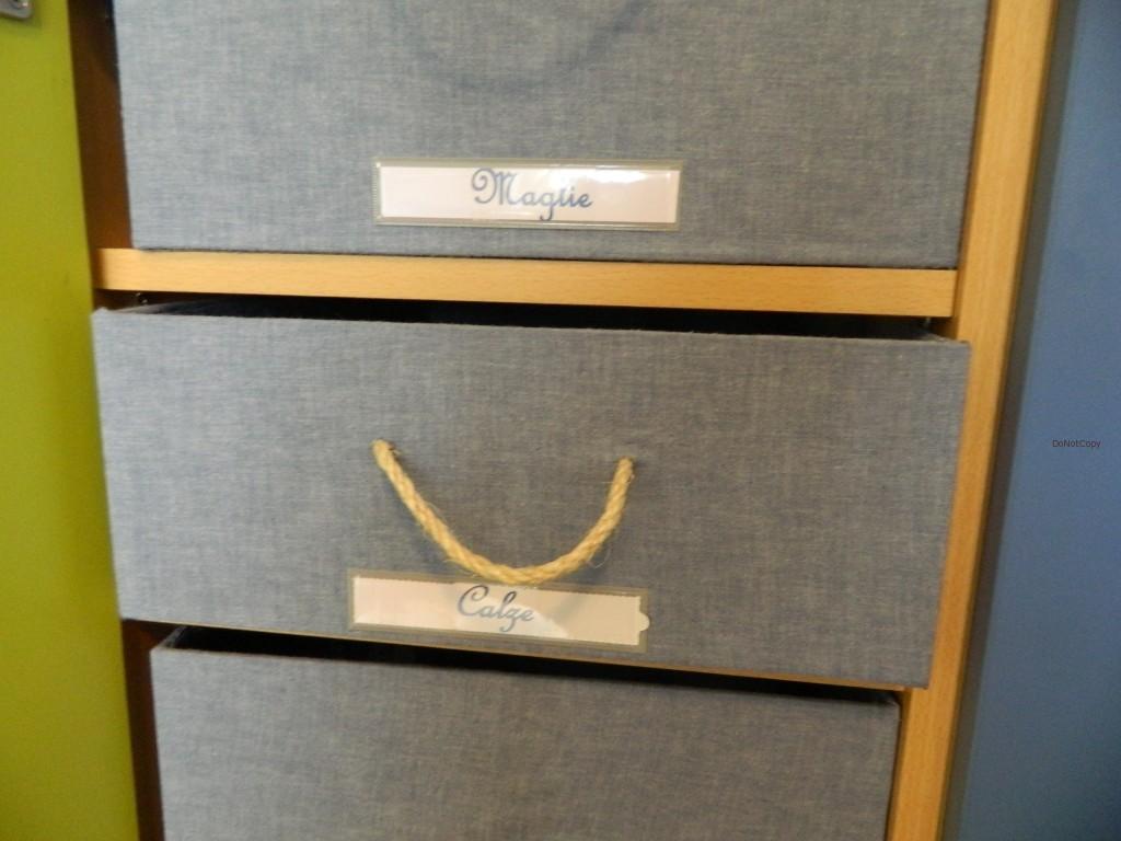 Particolare della scatola rivestita in stoffa