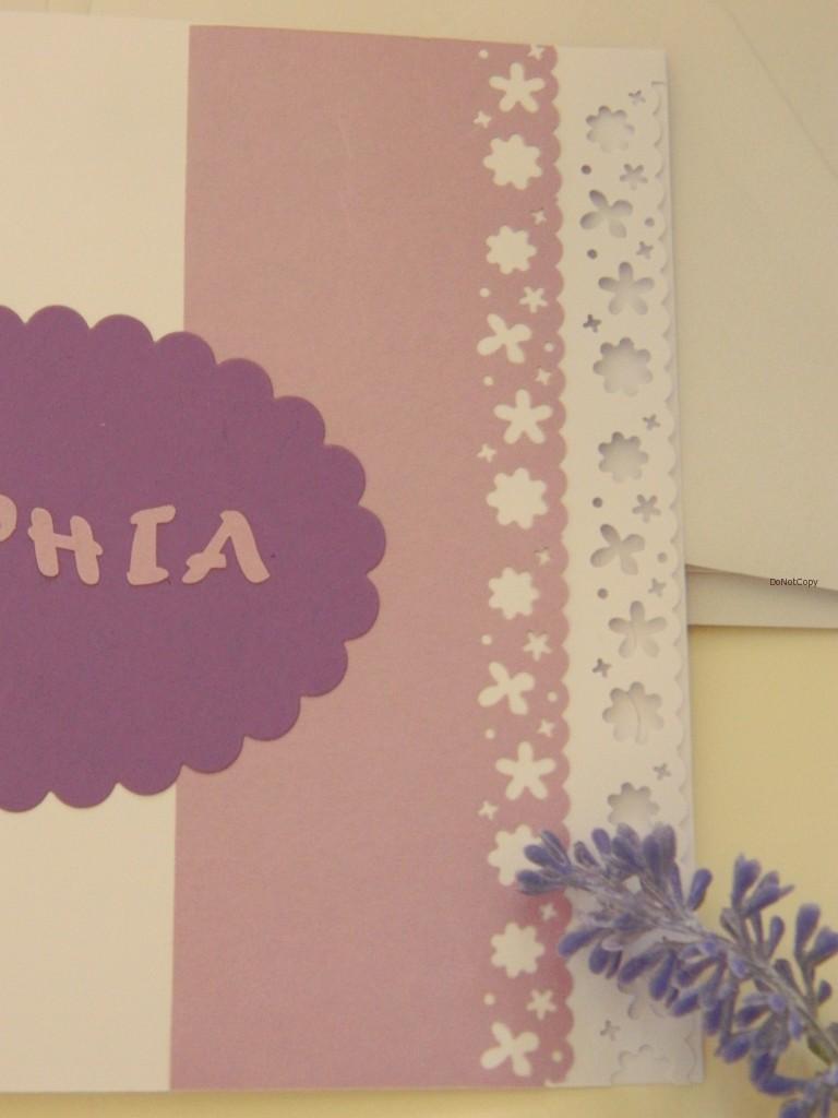 particolare dell'esterno dell'invito Sophia